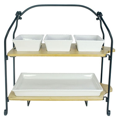 2 Tier Bamboo And Stoneware Serving Set