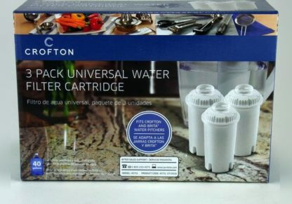 Crofton 3 Pack- Universal Water Filter Cartridges for Water Pitchers
