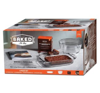 Baked By Fire King 4 Piece Baking Set with Premium Brownie Mix