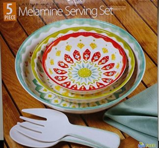 Laurie Gates - 5 Piece Melamine Serving Set - Red & Green & Blue