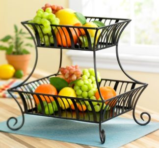 Mesa Home Products Delaware 2-Tier Basket – Brushed Copper Finish