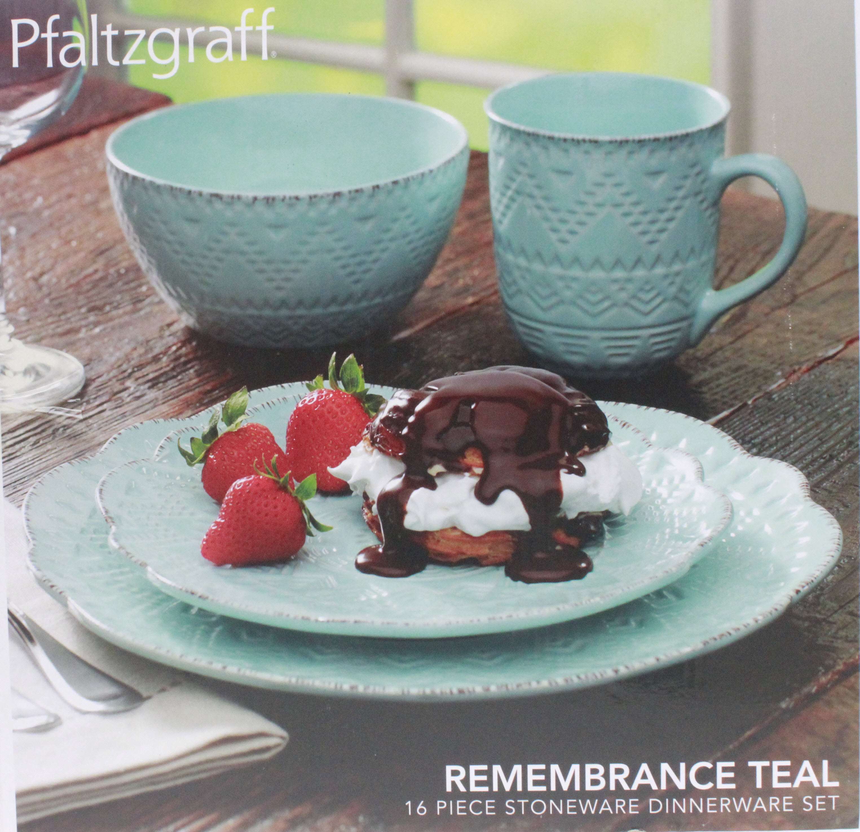 Pfaltzgraff REMEMBRANCE TEAL 16 Piece Dinnerware Set – Nortram Retail