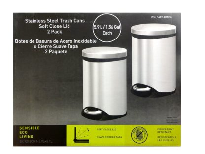 Sensible Eco Living 1.56 gal 2Pack Stainless Steel Trash Can