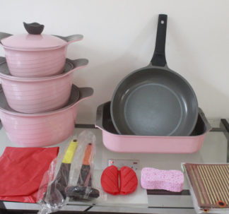 Fessle Granite Coating Cookware Set 16 piece – pink