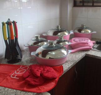 Fessle 21 pcs ceramic coated cookware set – pink