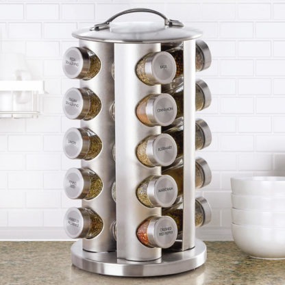 Kamenstein 20-Jar Stainless Steel Revolving Spice Rack w/ Real Spices
