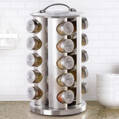 Kamenstein 20-Jar Stainless Steel Revolving Spice Rack w/ Real Spices