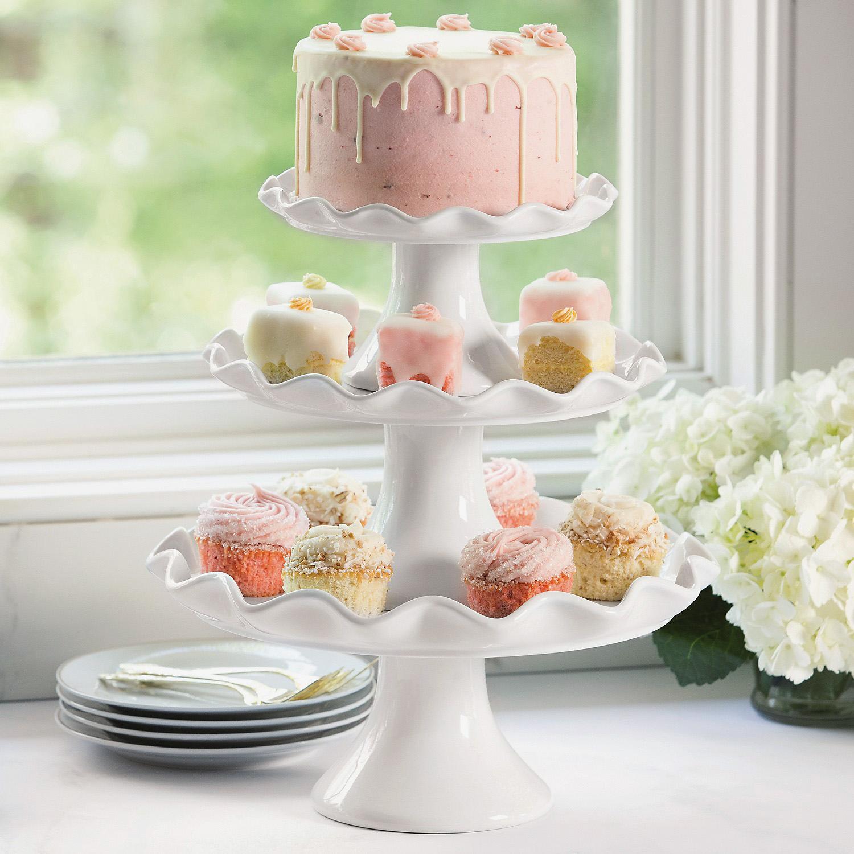 Member S Mark 3 Piece Pedastal Porcelain Cake Stand Set Nortram Retail
