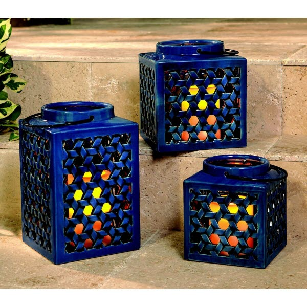 Member S Mark 3 Pcs Stoneware Lantern Set With Flameless Candles Blue Nortram Retail