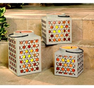 Member's Mark 3-Piece Stoneware Lantern Set With Flameless Candles Cream