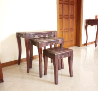 3 set hand carved wooden console
