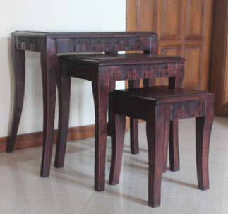 Nested Hand Carved Rosewood Table