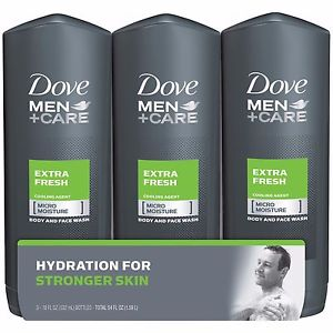 Dove Men+Care Extra Fresh Body & Face Wash - 532ml x 3