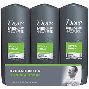 Dove Men+Care Extra Fresh Body & Face Wash - 532ml x 3