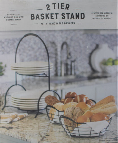 2 Tier Basket Stand with Removable Baskets