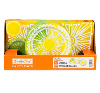 Daily Chef Citrus Punch Party Pack, Snack Plates and Luncheon Napkins (150ct.)