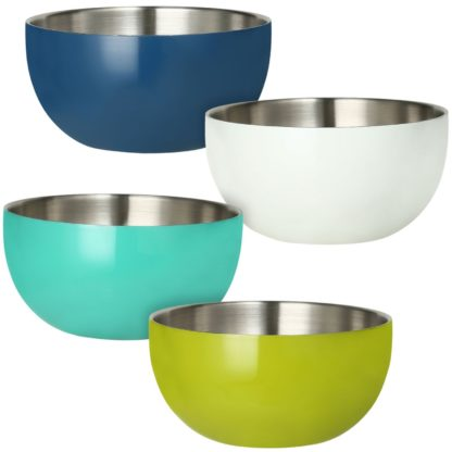 Stainless-Steel Double-Wall Bowl Set, 4 pack (Assorted Colors)