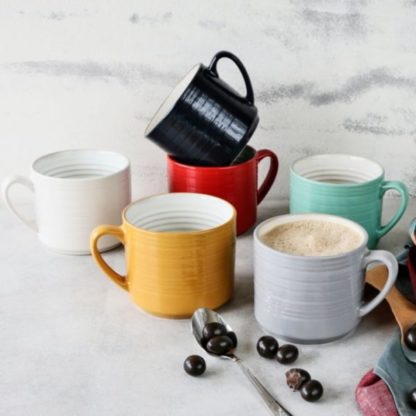 6-Piece Farmhouse Mug Set (Assorted Colors)