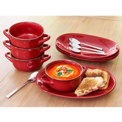 Member's Mark 8 Pc Bowl and Platter Set - Red