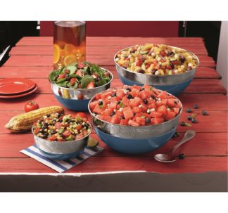 Member's Mark 4-Piece Dual-Finish Colored Mixing Bowl Set - Blue