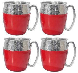 Member's Mark Hammered Mule Mugs, 4 Pack - Red