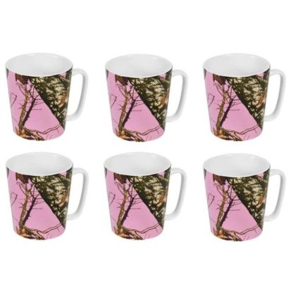 Mossy Oak Stoneware Mugs from USA - Set of 6, Pink Camo