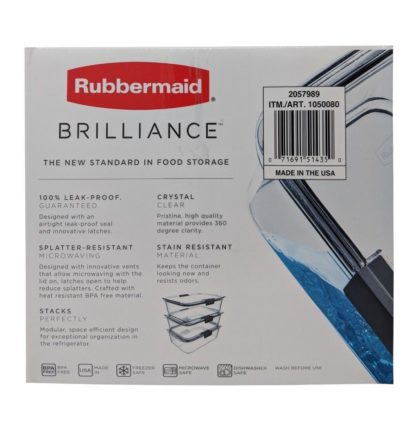 Rubbermaid Brilliance 100% Leak-Proof Three Large Containers 9.6 Cups (2.3 L) - 3 Pack