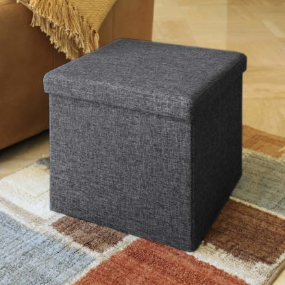 Seville Classics Foldable Storage Ottoman, Charcoal Gray (2 Pack)