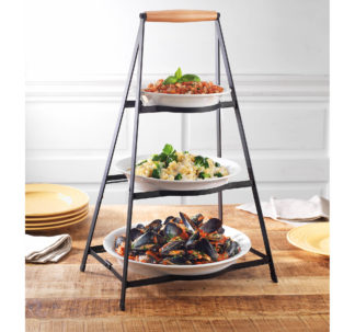 Berkley Jensen 3-Tier Collapsible Server with Plates