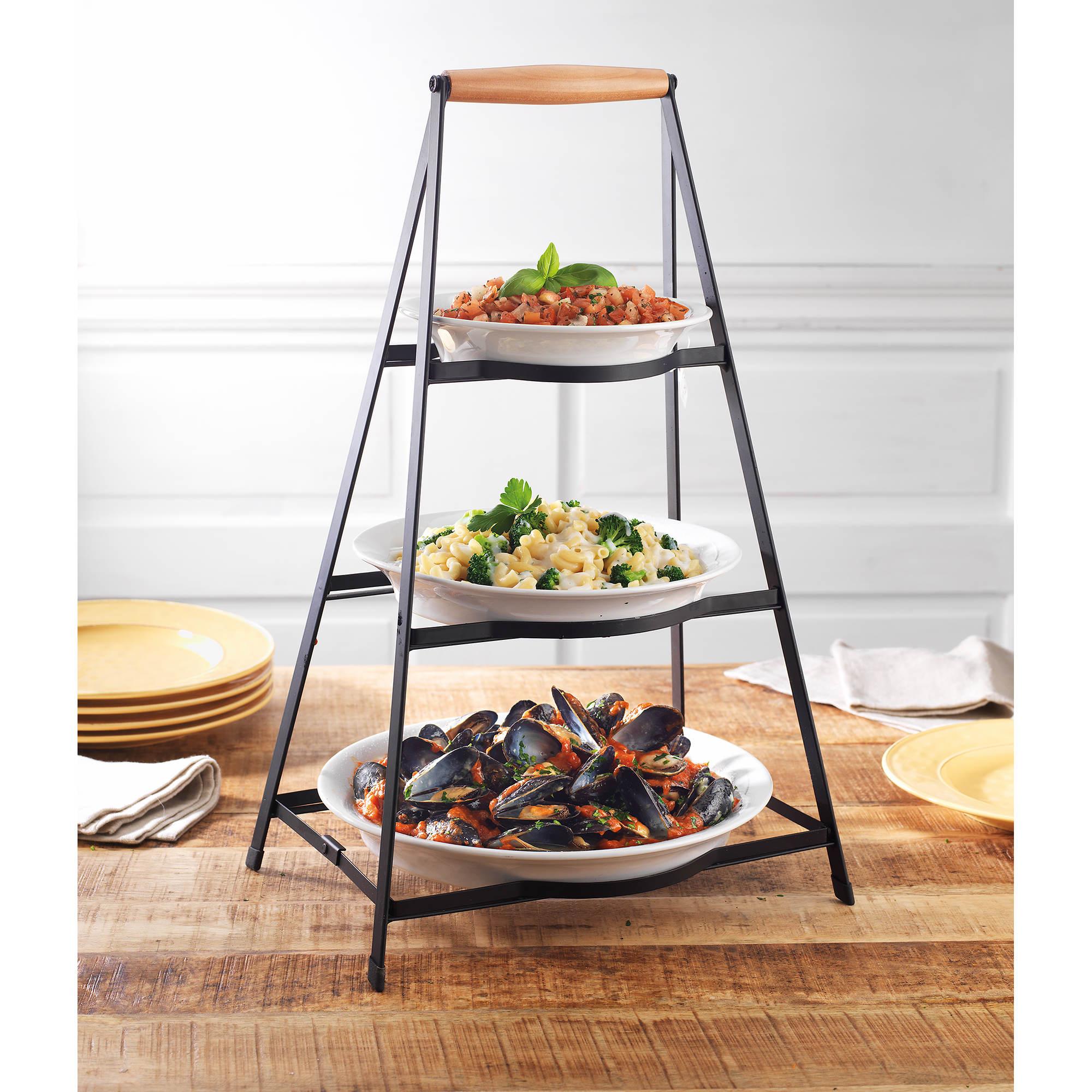 Phenomenal Berkley Jensen 3 Tier Collapsible Server With Plates Cjindustries Chair Design For Home Cjindustriesco