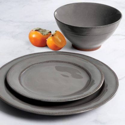 Gibson Elite 18-Piece Reactive Glaze Terracotta Dinnerware Set - Grey