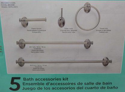 Water Ridge 5-Piece Bath Accessories Kit w/ Brushed Nickel Finish