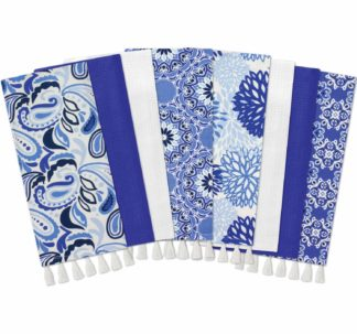 Gourmet Club Flat Woven Kitchen Towels, 8-Pack, Blue