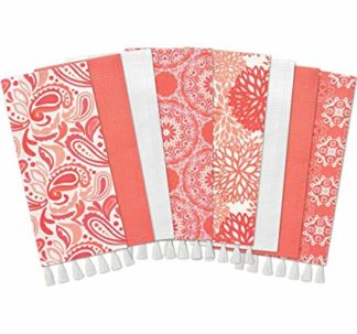 Gourmet Club Flat Woven Kitchen Towels, 8-Pack, Coral