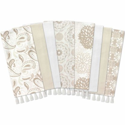 Gourmet Club Flat Woven Kitchen Towels, 8-Pack, Taupe