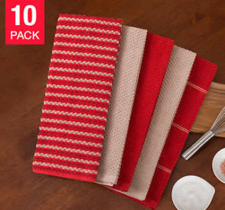 Town and Country Living Microfiber Kitchen Towels 10-Pack - Red/Taupe