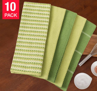 Town and Country Living Microfiber Kitchen Towels 10-Pack - Green
