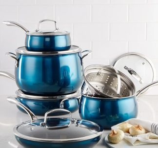 Belgique 11 Piece Quality Home Cookware Set | Non-Stick Aluminum | Blue Translucent | High End Non-Stick Cookware