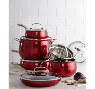 Belgique 11 Piece Quality Home Cookware Set | Non-Stick Aluminum | Red Translucent | High End Non-Stick Cookware