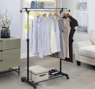 Easy Home Adjustable Garment Rack With Shelf