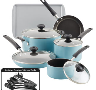 Faberware Easy Clean Aluminum Nonstick Cookware Set, 15-pc, AQua⁣