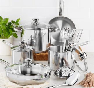 Tools of the Trade Stainless Steel 13-Pc. Cookware Set⁣
