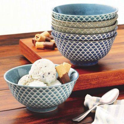 Wax Relief 6-piece Porcelain Bowl Set