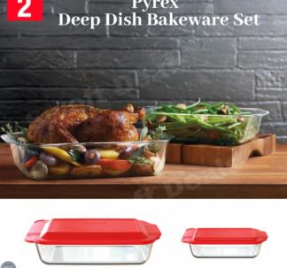 Pyrex 50% Deeper Baking Dish 2 piece set with lids