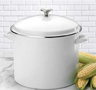 Berkley Jensen 11.35 Litres Enamel Stock Pot - white