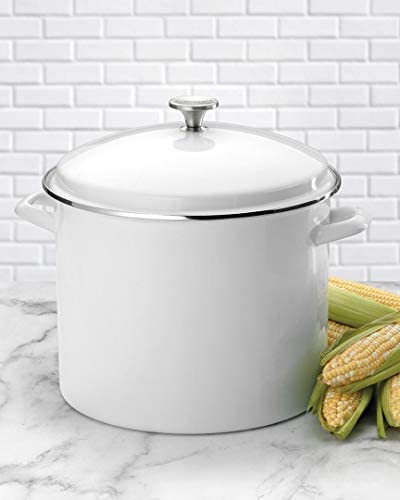 Berkley Jensen 11.35 Litres Enamel Stock Pot - white