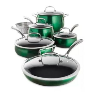 # Belgique 11 Piece Quality Home Cookware Set | Non-Stick Aluminum | Green Translucent | High End Non-Stick Cookware