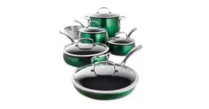 # Belgique 11 Piece Quality Home Cookware Set   Non-Stick Aluminum   Green Translucent   High End Non-Stick Cookware