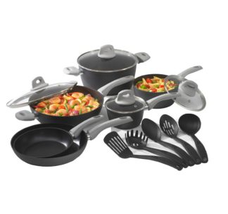 Bialetti 15-Pc. Aluminum Non-Stick Cookware Set with Soft-Touch Handles