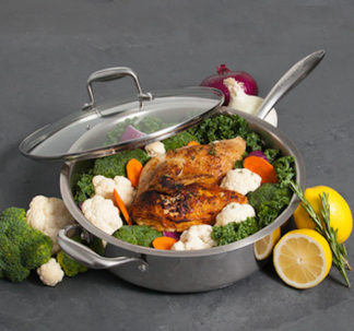 "Crofton Chef's Collection 12""(30.5 CM) Stainless Steel Sauté Pan With Glass Lid"